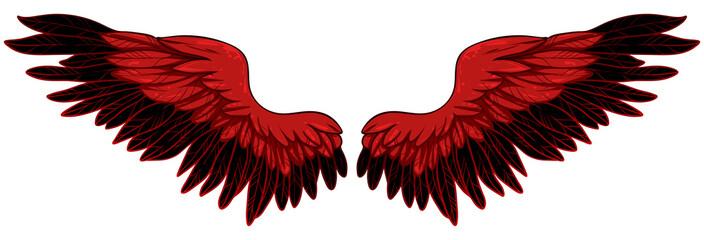Beautiful fiery red bright wings, hand drawn vector Fototapete