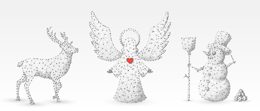 Christmas Angel, Deer, Reindeer, Snowman with a broom. Wintertime, snow days, winter holidays concept on white origami background. Abstract low poly, polygonal, wireframe, 3d vector illustration