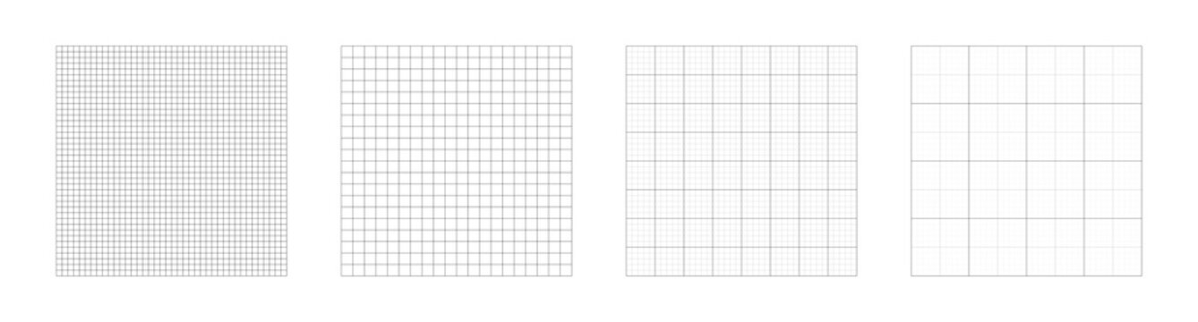 Grid templates, isolated on white background. Set of grid pattern background. Graph paper. Square background. Grid lines black and white color. Vector illustration