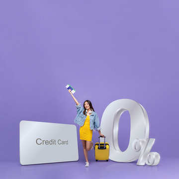 Asian tourist woman  and credit card with 0% interest instalment payment promotion