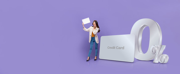 Banner of Asian woman  standing next to credit card with 0% interest installment payment plan
