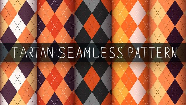 Seamless argyle plaid halloween pattern.