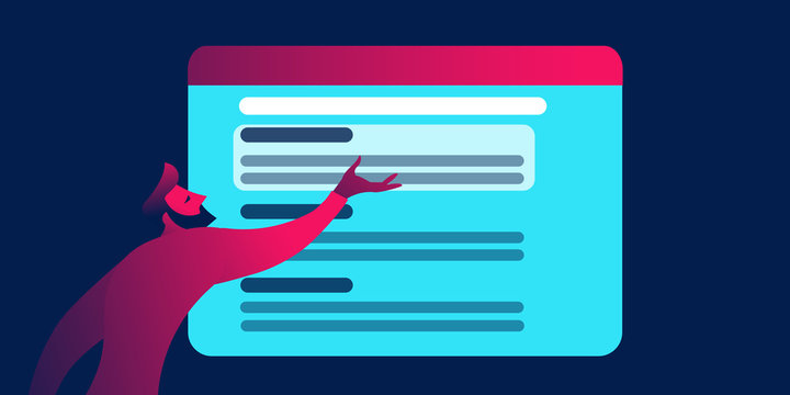 Serp - search engine research page, seo business concept in red and blue neon gradients