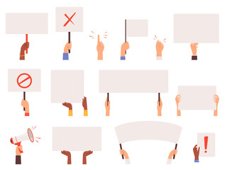 Protesters banners. Holding hands politics picket blank signs manifestation vector collection. Manifestation protest, holding demonstration placard illustration