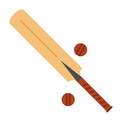 Wood cricket bat and balls icon. Vector Illustration on isolated white background.