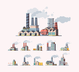 Factory. Industrial buildings manufactures air pollution vector flat pictures. Illustration building manufacturing tower, production construction with pipeline