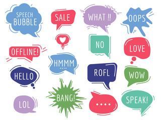 Communication tags. Cartoon speech bubbles with humor phrase text sound handdrawn vector balloons. Illustration bubble communication clouds, comic cartoon sticker Wall mural