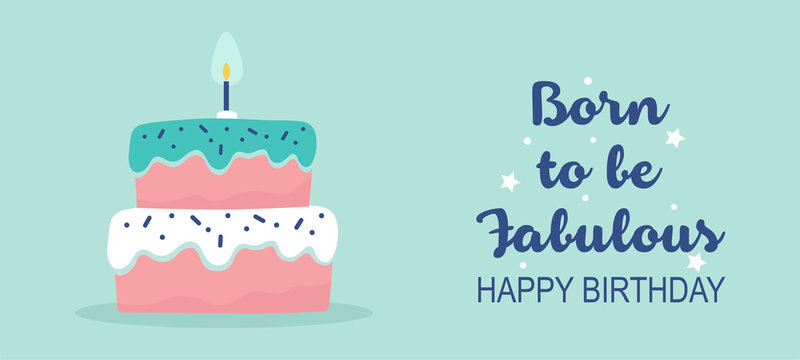 Minimal style birthday banner with cake and typography - Vector Illustration