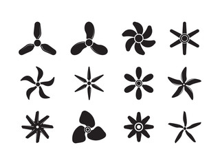 Plane propellers. Motion symbols jet aviation powerful icons ventilator circles vector badges collection. Illustration ventilator and propeller, wind rotation Wall mural