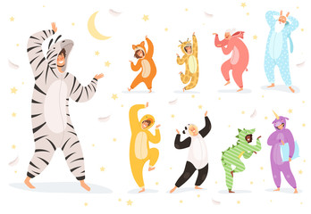 Pyjamas characters. Happy kids and parent playing in night textile costumes vector. Illustration costume animal, funny girl and boy pajamas