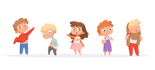 Kids changing clothes. Children dressing pants and shoes parents helping and teaching vector cartoon funny peoples. Child take clothes and wearing illustration