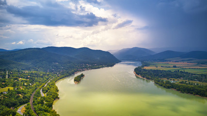 Summer rain and stormy weather. Danube river valley panorama. Fototapete