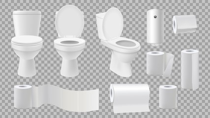 Realistic toilet bowl. Restroom accessories isolated on transparent background. Paper rolls and and air freshener vector set. Bathroom toilet, hygiene clean paper for restroom illustration