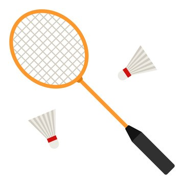 Badminton racket and white shuttlecocks on white background. Equipments for badminton game sport. Vector illustration