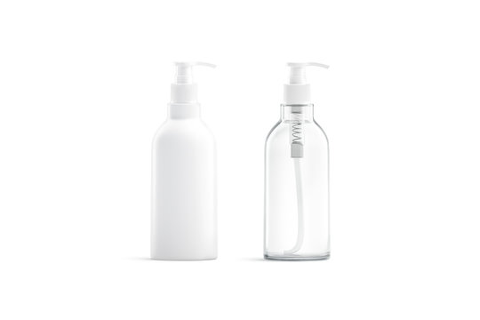 Blank white and transparent plastic pump bottle mockup, isolated