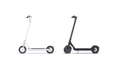 Blank black and white electric scooter mockup set, isolated