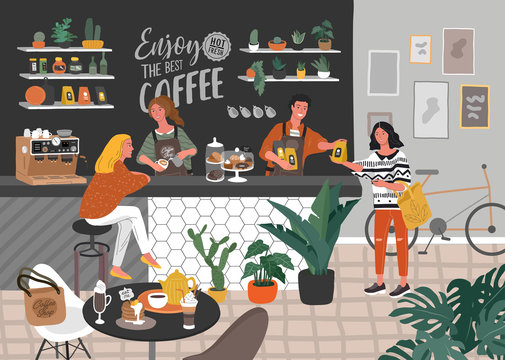 Coffee shop or cafe interior design and scene. Character of Girl barista make cappuccino art and happy cafe customer. Scandinavian style interior with houseplants and handwritten quote. Cartoon