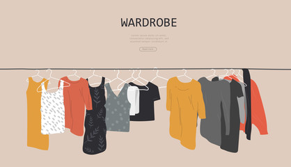 Web landing page template with wardrobe stuff. Closet wardrobe furniture inside. Various trendy clother. Hand drawn isolated elements. Cartoon vector