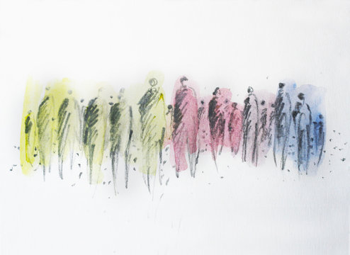 Abstract crowd of people, society, human, colored persons in the town, success, democracy