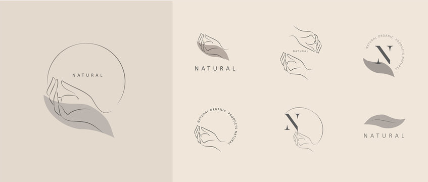 Logo design template in trendy linear minimal style. Vector abstract hands. Abstract symbol for organic products, beauty cosmetics, jewellery