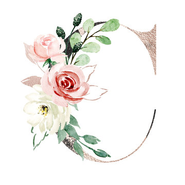 Letter c, gold & black alphabet letterhead with watercolor flowers roses and leaf. Floral monogram initials perfectly for wedding invitation, greeting card, logo, poster. Holiday design hand painting.