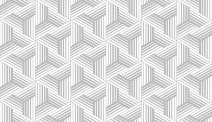 Foto op Canvas Geometrisch Abstract geometric pattern with stripes, lines. Seamless vector background. White and grey ornament. Simple lattice graphic design.