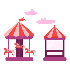 Horizontal banner of amusement park with circus tent.