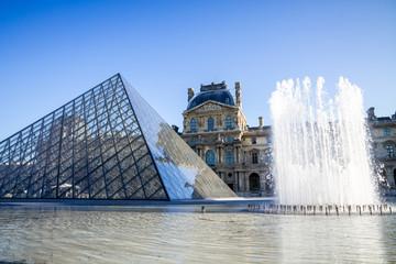 PARIS - September 10, 2019 : Louvre Museum and Pyramid