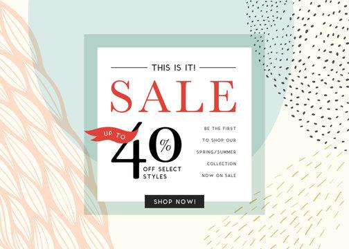 Sale banner template design. Good for website, social media, email, print, ads design and promotional material.