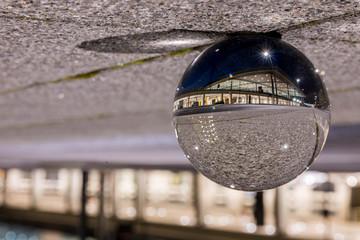 Passenger terminal Berlin Brandenburg airport view through a lens ball - international airport near the capital of Germany, Berlin  - BER - BERLIN / GERMANY - January  18, 2019