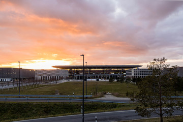 Passenger terminal Berlin Brandenburg airport in the sunset, Willy Brandt - international airport near the capital of Germany, Berlin  - BER - BERLIN / GERMANY - January  18, 2019