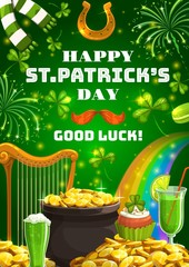 Wishes of good luck on Patricks day. Vector horseshoe and Irish holiday, pot of gold, harp and rainbow. Green cocktails, ale beer and macaroons, piles of golden coins, fireworks and scarf