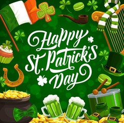 Patricks day vector shamrock leaves, leprechaun hat and gold pot. Irish holiday green beer, clover, golden coins and horseshoe, flag of Ireland and drum with greeting wishes