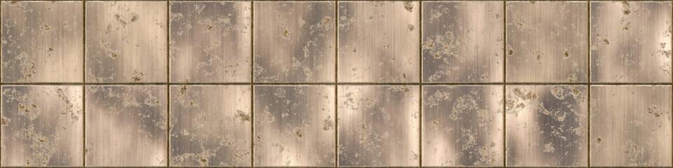Fotobehang - Metal panel background. Metallic steel texture with minor damage. Long horizontal iron panel.