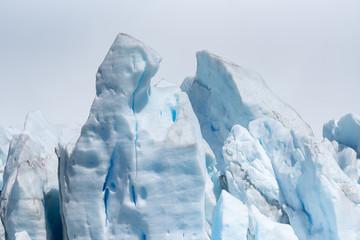 Close up of the layers of ice on Perito Moreno Glacier, Argentina
