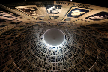A view from below shows pictures of Jews killed in the Holocaust displayed at the Hall of Names in the Holocaust History Museum at the Yad Vashem World Holocaust Remembrance Center in Jerusalem