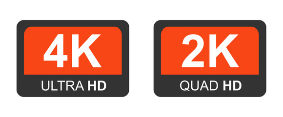 4k ultra hd and 2k quad hd. Modern technology signs. Vector illustration symbol Monitor display Label