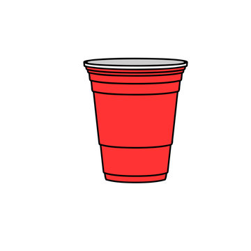 Beer pong red cup. Clipart image isolated on white background