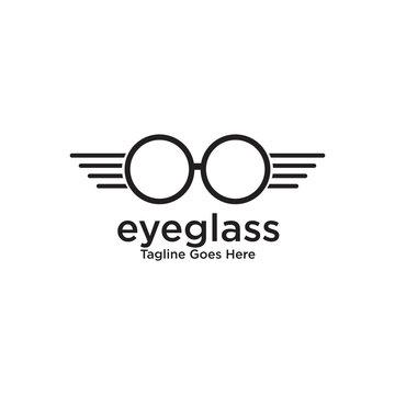 Eye glasses logo design vector template