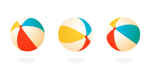 Foto op Plexiglas Bol Beach ball set icon. Clipart image isolated on white background