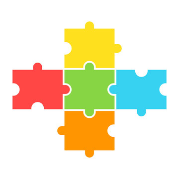 Puzzle 5 piece design. Clipart image isolated on white background