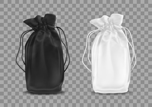 Blank drawstring polyester tote bag. Vector realistic illustration