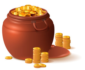 Large clay brown pot full of gold. Ceramic pot with lid