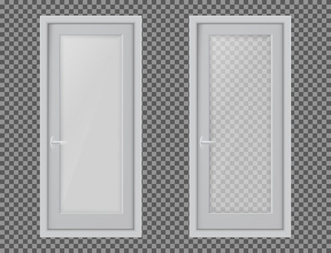 Vector realistic different closed white door