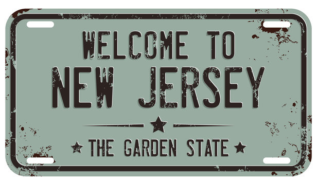 Welcome to New Jersey Message on The Distressed Licensing Plate
