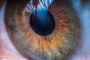 Fond de hotte en verre imprimé Iris Close-up view on brown human eye.