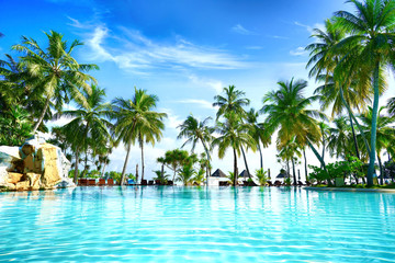 Beautiful lush tropical palm trees against blue sky with white clouds are reflected in turquoise textured wavy water on sunny day. Colorful image for summer vacation.