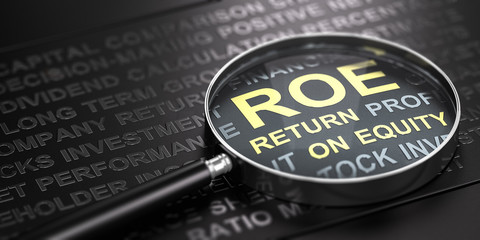 ROE, Return On Equity. Investment Concept.