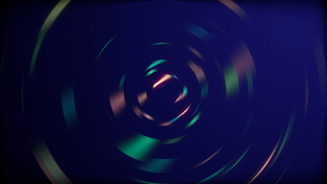 Sound waves in rainbow spectrum of colors circling over black background.