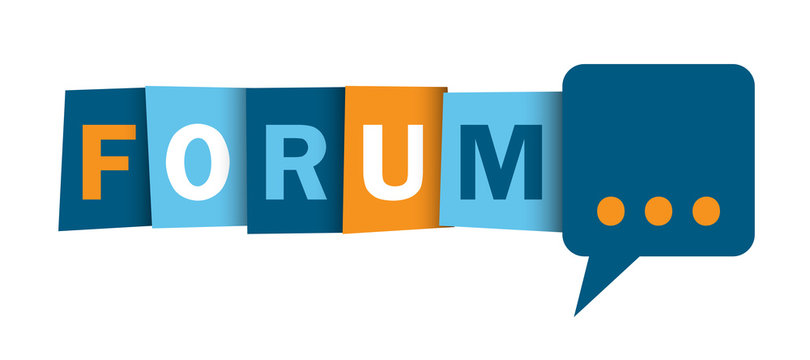 FORUM colorful vector typographic web button with speech bubble symbol